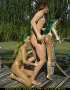 Lucky dude screws two green haired sluts so outdoors
