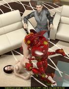 Horny red robot screwing a short haired brunette slut