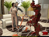 Super hot brunette gal getting rammed at home by a robot