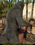 Well hung gorilla enjoys in a tight black pussy outdoors