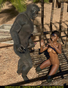 Short haired ebony model gets rammed by a nasty gorilla