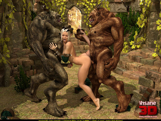 Slutty elf gal gets shared outdoors by two ugly - Picture 3
