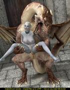 Beautiful elf slut with a curvy body fucked by a dragon