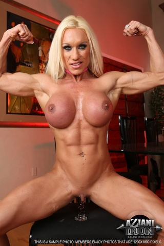 bodybuilder blondie glass dildo