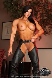 long haired bodybuilding chick