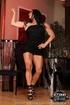 Brunette slut in black outfit showing her wonderful clit
