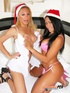 Blonde babe in santa hat and lingerie has hard throbbing cock and licks