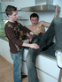 Gay friends have some fun in the kitchen with a blowjob and sex