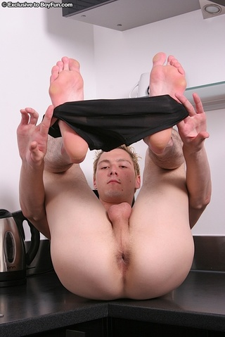 horny blonde guy teases
