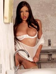 seduction hot brunette strips
