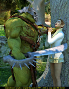 Muscled green monster fucking a wonderful elft lady