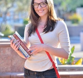 Nerdy college student likes to show her twat in public