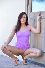 brunette purple outfit drills