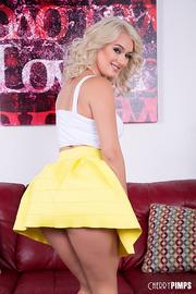 cute blonde white top