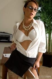 naughty brunette secretary gets