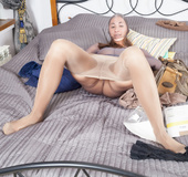 Kinky fetish babe with perky soft ass enjoys sweet soft nylon