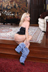 Blonde bimbo in a nice corset will surely blow your mind