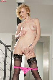 tattooed blonde model stockings