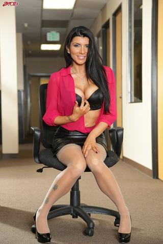 dark haired secretary stockings