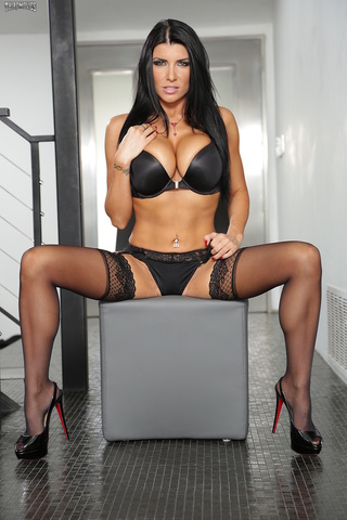 alluring hot babe sits