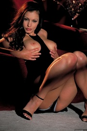 luxurious brunette seduces her