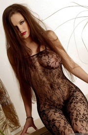 seductive long haired brunette