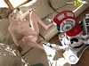 Elegant blonde babe spreads her legs and expose pussy to robot assistant!