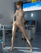 Kinky blondie strips her see-through white bikini in her office.