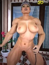 Muscular, big titted babe uses a vibrating dildo on pussy and asshole.