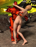 Babe gets her breasts and pussy fondled by a big red robot.