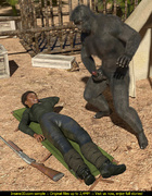 Horny gorilla fucks a beautiful black army girl