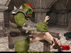 Kinky green troll fucks a s slutty gal in bondage