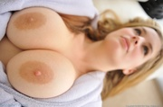 blonde babe puts nipple