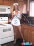 Gorgeous Maid takes off her blue dress and white apron then bares her