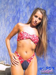 alluring brunette teases with