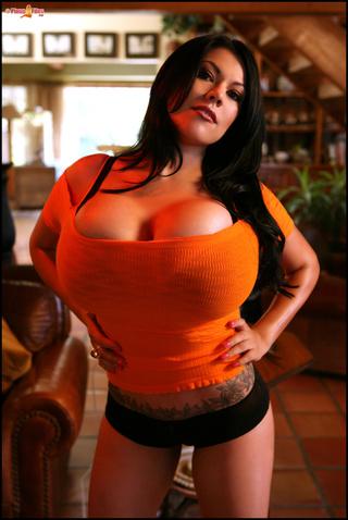 black-haired tattooed latina black-bra
