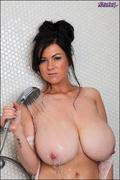 big tits, black, shower, white