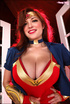 Redhead wearing Wonder Woman cosplay takes all of her clothes off
