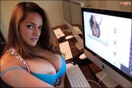 big tits, brunette, car, watching