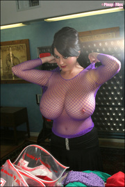purple fishnet top goes