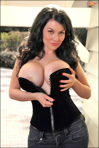voluptuous dark-haired doll black-corset