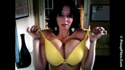 dirty brunette slips-off yellow