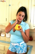 big tits, kitchen, posing, shorts