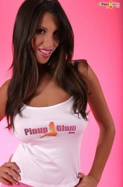tanned brunette surrounded pink