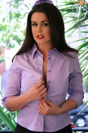 gorgeous brunette purple shirt