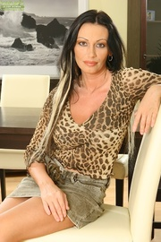 brunette milf animal-print underwear