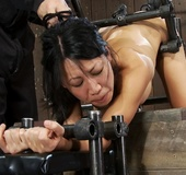 Asian MILF's merry attitude changes when her body is bound, and she