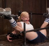 Sporty blonde is shocked that she can maintain such a hard position when