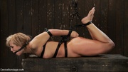 leather straps hogtie flaxen-haired