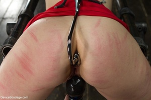 Red-lipped Mistress shoves fingers and an ass plug into a sub's mouth, then carelessly sets her on a Sybian. - XXXonXXX - Pic 8